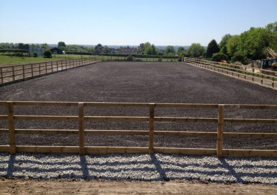 60m x 20m horse arena surrey finshed with rubber crumb finished