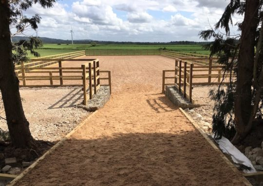 outdoor horse arena entrance view